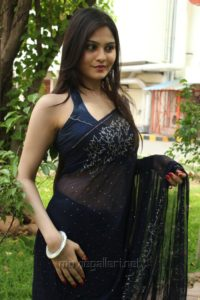 Vibha Natarajan Hot Blue Saree with Sleeveless Blouse Photos