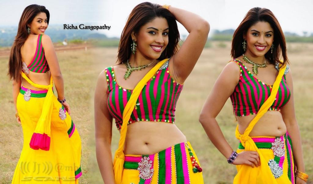 Richa Gangopadhyay in Saree Below Navel Sleeveless Blouse
