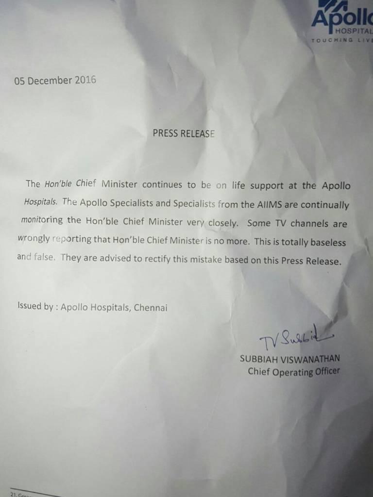 Press release by Apollo Hospital