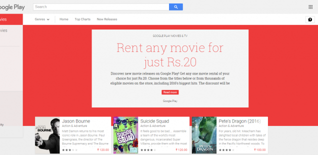 Google Play Movies just for Rs 20