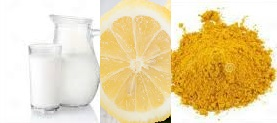 Raw Milk, tumeric, lemon juice face pack