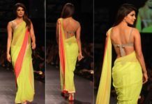 Priyanka Chopra in backless saree blouse