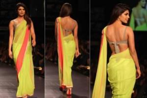 Priyanka Chopra in backless saree blouse