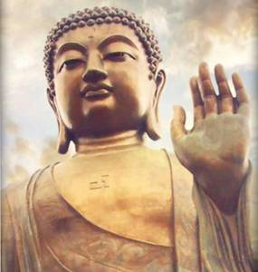Buddha with swastik