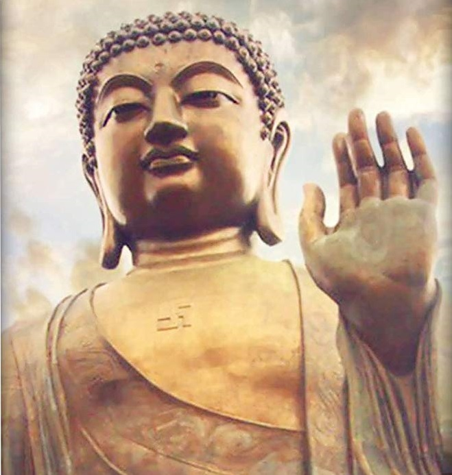 Buddha with swastik