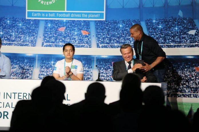 Ananya Kamboj representing as Young Ambassador at 2019 International Football for Friendship