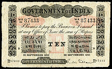 Rs10 Govt of india 1910