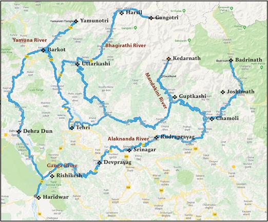 Char dham map