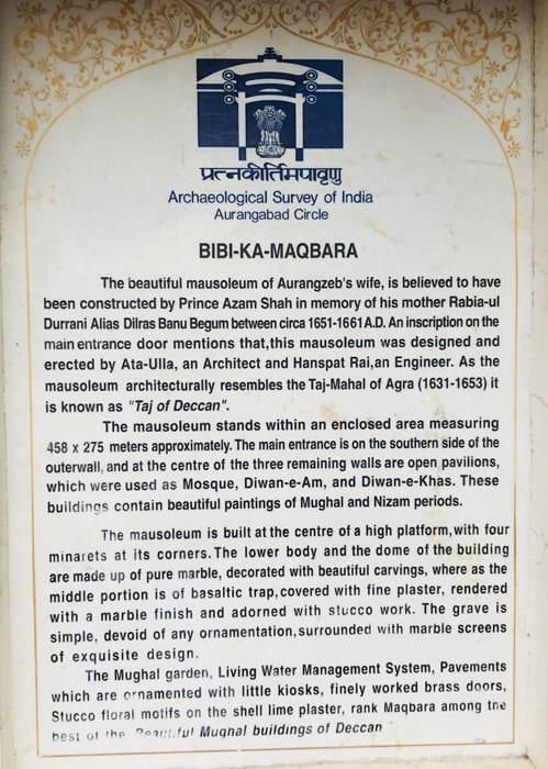 Bibi Ka Maqbara plaque