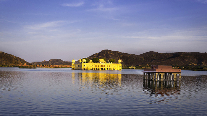 Jal Mahal in blue background