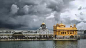 Golden Temple with clouds