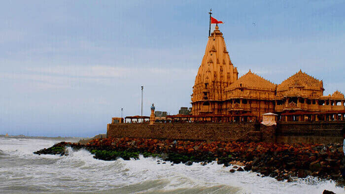 Somnath temple near sea