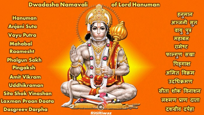 Lord Hanuman 12 names with mantra and meaning