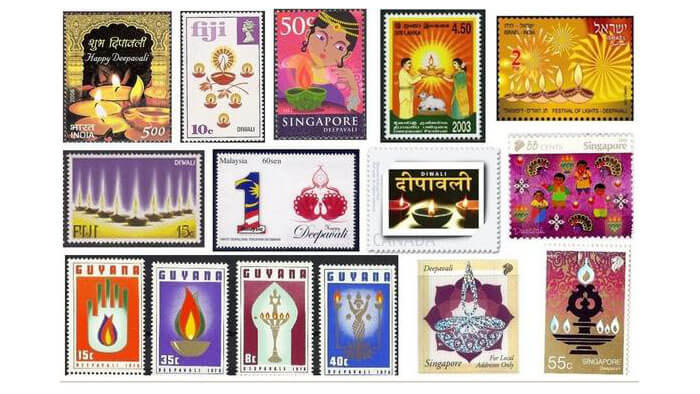 Diwali stamps from around the world