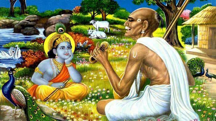 Surdas with krishna