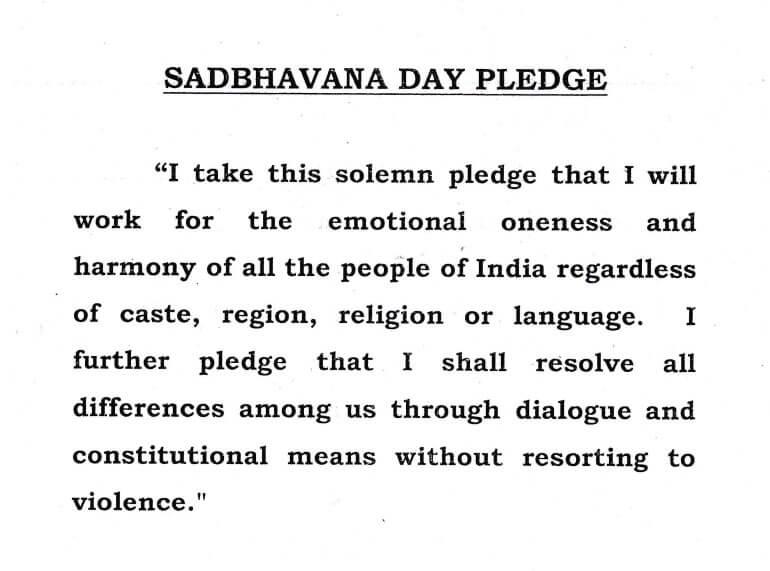 Sadbhavana Diwas pledge